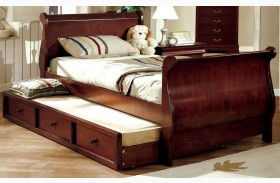 Louis Philippe Jr. Dark Cherry Youth Trundle Sleigh Bed