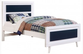 Alivia Blue And White Finish Platform Bed