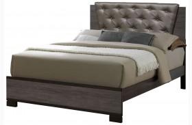 Manvel Dark Gray Finish Upholstered Bed