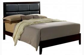 Janine Espresso Finish Upholstered Platform Bed