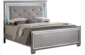 Bellanova Silver Finish Upholstered Panel Bed