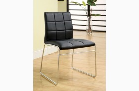 Oahu Black Finish Leatherette Side Chair Set of 2