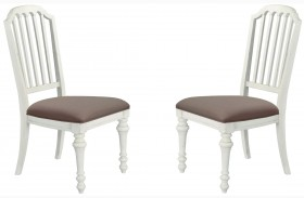 Hancock Park Weathered Oak Finish Upholstered Side Chair Set of 2