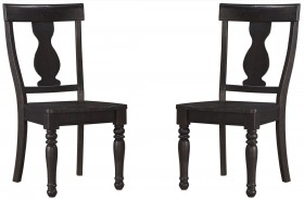 Sharlowe Charcoal Finish Dining Room Side Chair Set of 2