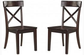 Gerlane Dark Brown Finish Dining Room Side Chair Set of 2