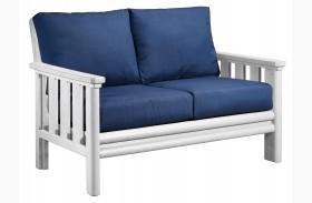 Stratford Loveseat With Indigo Blue Sunbrella Cushions