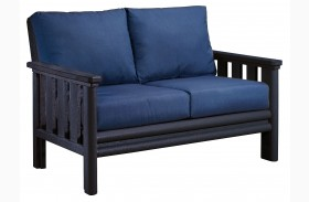 Stratford Loveseat With Indigo Blue Sunbrella Cushions Sunbrella Cushions