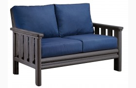 Stratford Loveseat With Indigo Blue Sunbrella Cushions