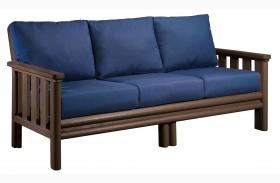 Stratford Sofa With Indigo Blue Sunbrella Cushions