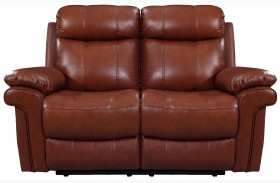 Shae Joplin Saddle Finish Leather Reclining Loveseat