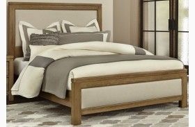 Kismet Rustic Maple Upholstered Panel Bed