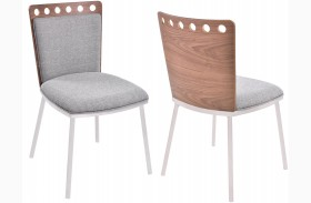 Brooke Grey Finish Fabric Dining Chair Set Of 2