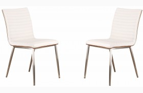 Cafe Brushed Stainless Steel White Finish Dining Chair Set Of 2