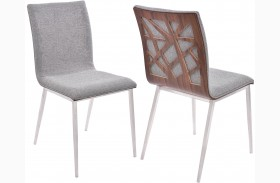 Crystal Grey Finish Dining Chair Set Of 2