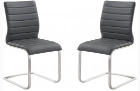Fusion Contemporary Gray Finish Side Chair Set Of 2