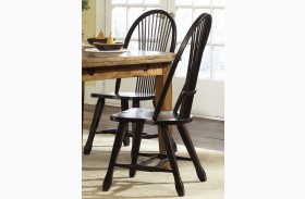 Treasures Black Finish Sheaf Back Side Chair Set of 2