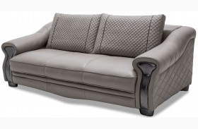 Mia Bella Light Gray Finish Leather Standard Sofa