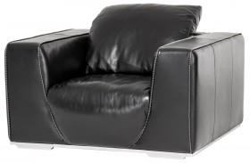 Mia Bella Black Onyx Finish Leather Chair