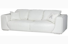 Mia Bella White Finish Leather Standard Sofa