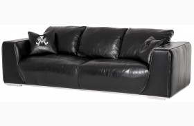Mia Bella Black Onyx Finish Leather Standard Sofa