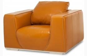 Mia Bella Tangerine Finish Leather Chair