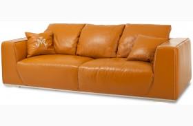 Mia Bella Tangerine Finish Leather Standard Sofa