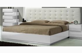 Milan White Lacquer Platform Bed