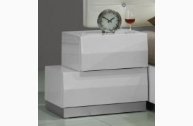 Milan White Lacquer Laf Nightstand