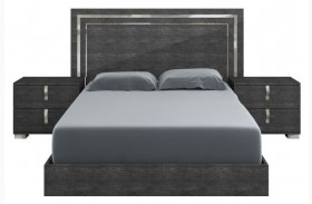 Vivente Noble Gray Birch High Gloss Platform Bed