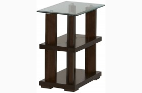 Delfino Burnished Cherry Finish Chairside Table