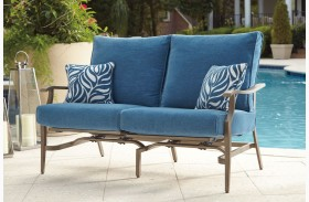 Partanna Blue and Beige Finish Motion Loveseat Set of 2