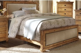Willow Distressed Pine Upholstered Bed