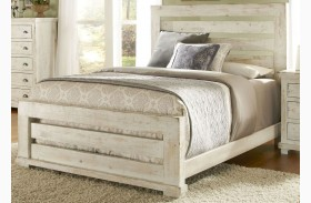 Willow Distressed White Slat Bed