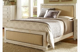 Willow Distressed White Upholstered Bed