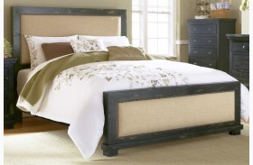 Willow Distressed Black Upholstered Bed