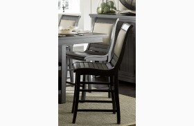 Willow Distressed Black Finish Counter Upholstered Chair Set of 2