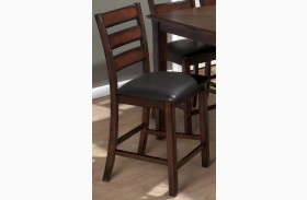 Baroque Brown Finish Upholstered Slat Back Stool Set of 2