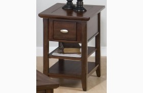 Bellingham Brown Finish 1 Drawer Chairside Table