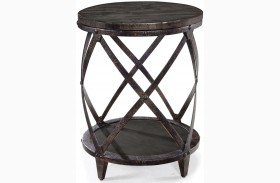Milford Weathered Charcoal And Gunmetal Finish Round Accent Table