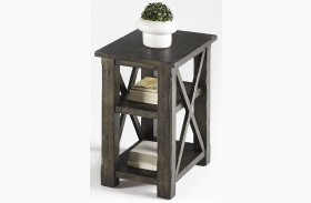 Crossroads Smokey Grey Finish Chairside Table
