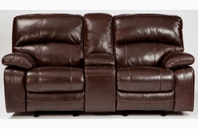 Damacio Dark Glider Reclining Loveseat with Console
