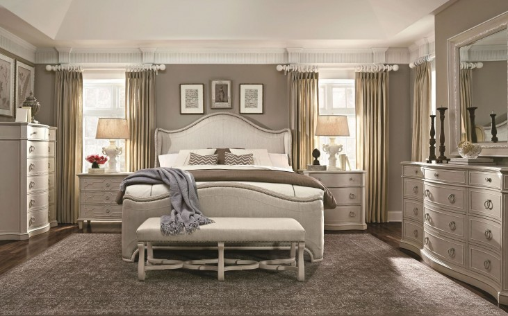 Chateaux Grey Upholstered Shelter Bedroom Set