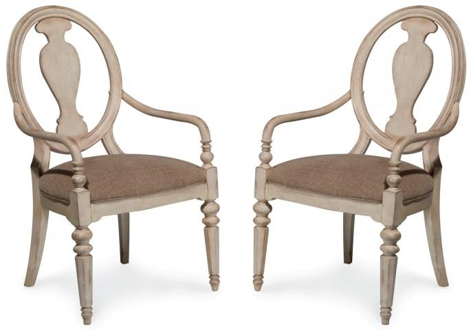 Belmar Antique Linen Oval Splat Back Arm Chair Set of 2
