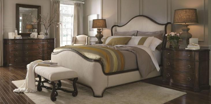 Chateaux Walnut Upholstered Shelter Bedroom Set