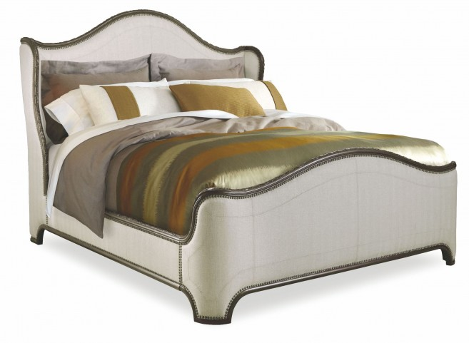 Chateaux Walnut Queen Upholstered Shelter Bed
