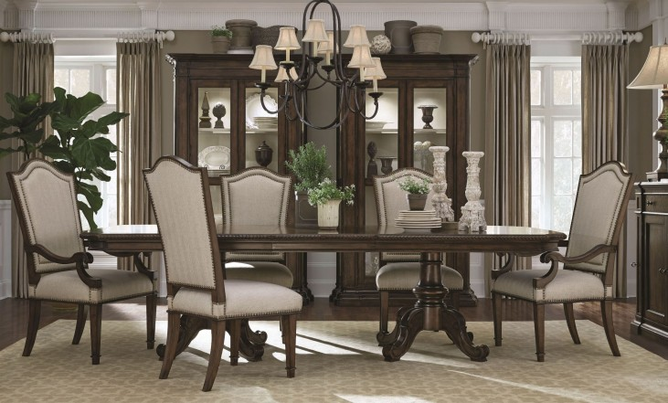 Chateaux Walnut Double Pedestal Dining Room Set