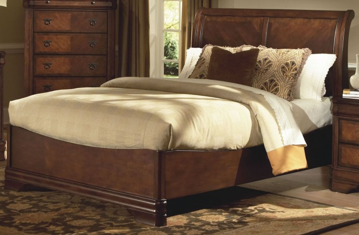 Sheridan Burnished Cherry Queen Sleigh Bed