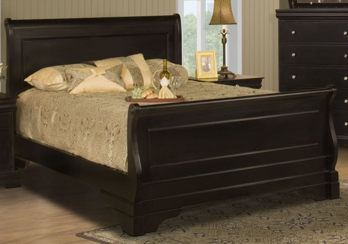 Belle Rose Black Cherry Cal. King Sleigh Bed