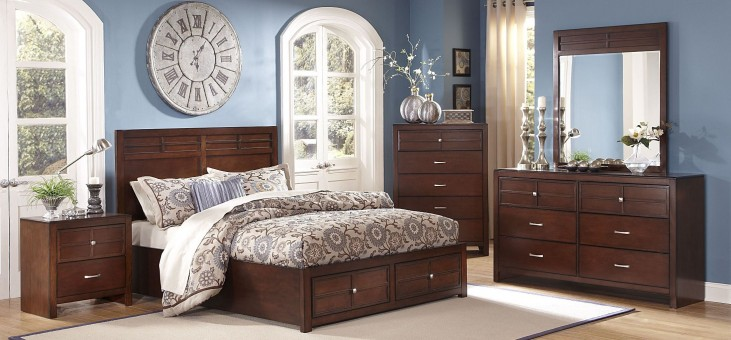 Kensington Burnished Cherry Platform Storage Bedroom Set