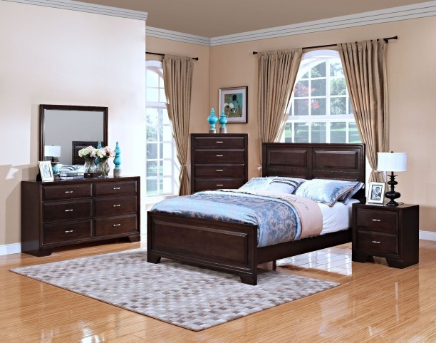 Garrett African Chestnut Panel Bedroom Set